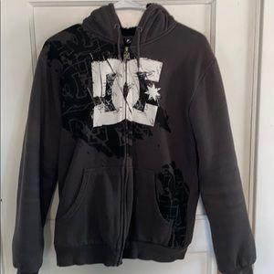 DC gray lined zip up men's small sweatshirt
